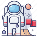 astronaut, flag, space icon