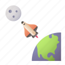 space, travel, moon, earth, spaceship