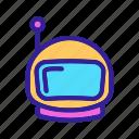 astronaut, astronomy, contour, cosmonaut, helmet, space, spaceman icon