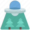 ufo, over, forrest, astronomy, aliens icon