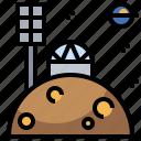 astronomy, dome, earth, galaxy, planet, satellite, stars icon
