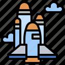 astronomy, earth, galaxy, launch, satellite, shuttle, universe icon