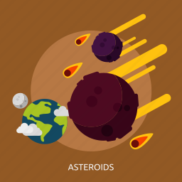 asteroids, comet, orbit, space, stone, universe icon
