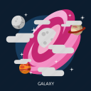astronomy, galaxy, science, space icon