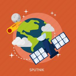 exploration, orbit, satellite, sputnik, universe icon