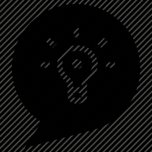 bubble, bulb, idea, idea chat, talk icon