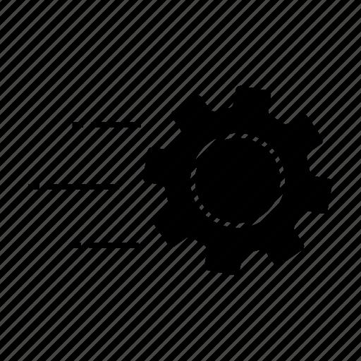 cog, cogwheel, flying, gear, mechanism, settings, technology icon