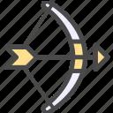 arrow, bow, bow and arrow, shooting icon