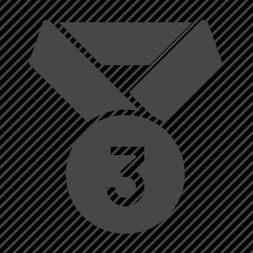 achievement, medal, number, reward, third, three icon