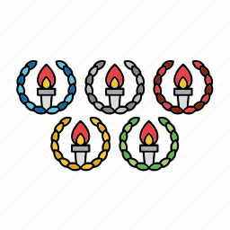 flag, games, olympic, olympics, rings, torch, wreath icon