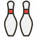bowling, pins, sports icon