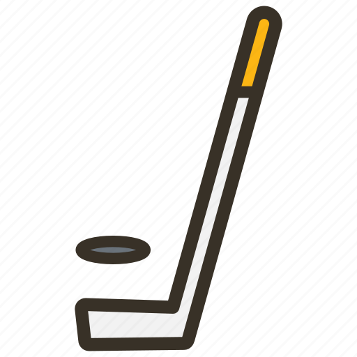 hockey, puck, stick icon