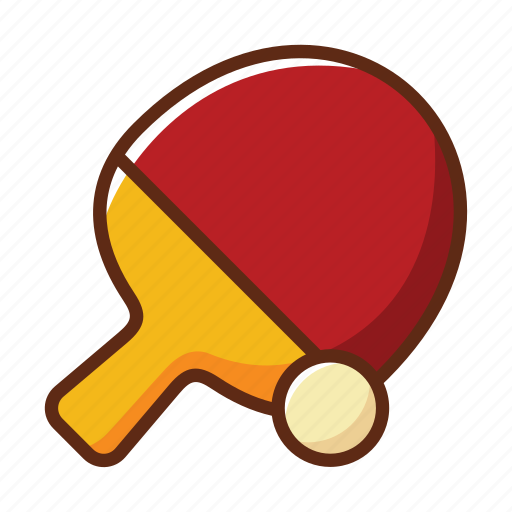 ball, bat, red, sports, table, tennis, yellow icon