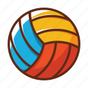 ball, beach, blue, red, sports, volley ball, yellow icon