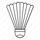 badminton, feather, line, outline, play, shuttlecock, sport icon