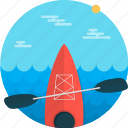 boat, canoe, kayak, kayaking, sport, sports, watersports icon