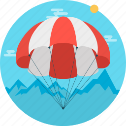 equipment, parachute, parasail, sky, sky dive, sport icon