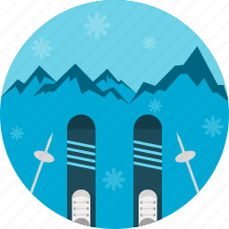 equipment, skiing, sky, snow, sports, winter icon