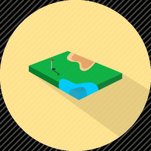 flag, golf field, hole, sport icon