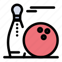 ball, bawling, pins, play, strike icon