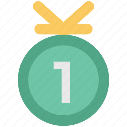 first medal, first position, first prize, gold medal, position medal, winner medal icon