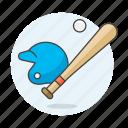 baseball, helmet, sports, ball, bat, equipment icon