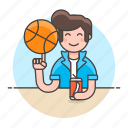 1, ball, basketball, cool, guy, half, male, soda, spin, sports, streetball icon