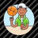 3, ball, basketball, cool, guy, half, male, soda, spin, sports, streetball icon