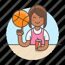 ball, basketball, cool, female, guy, half, soda, spin, sports, streetball icon