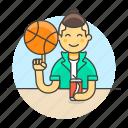 ball, basketball, cool, guy, half, male, soda, spin, sports, streetball icon