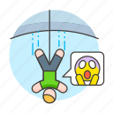 cord, jumping, bungee, sports, hace, man, falling, elastic, extreme, thrill, jump, emoji, fear icon