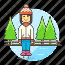 beanie, female, half, hat, ice, knit, skate, skating, sports, trapper, tree, winter icon