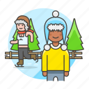 2, beanie, friends, half, hat, ice, knit, male, skate, skating, sports, trapper, tree, winter icon