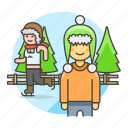 3, beanie, friends, half, hat, ice, knit, male, skate, skating, sports, trapper, tree, winter icon