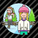 beanie, female, friends, half, hat, ice, knit, skate, skating, sports, trapper, tree, winter icon