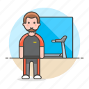 center, club, exercise, fitness, gym, male, outfit, sports, treadmill, workout icon