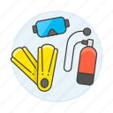 diving, equipment, fins, mask, scuba, sports, tank, water icon