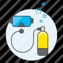 equipment, diving, scuba, mask, tank, sports, water