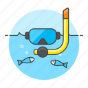 3, diving, fish, mask, ocean, scuba, sea, snorkel, sports, water icon