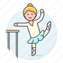 2, ballet, barre, coreography, dance, female, rehearsal, sports, technical, workout icon