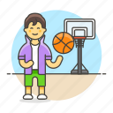 ball, basketball, game, goal, hoop, male, net, player, sports, streetball icon