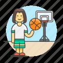 ball, basketball, female, game, goal, hoop, net, player, sports, streetball icon