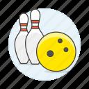 yellow, bowling, skittle, kegling, ten, sports, ball, pin
