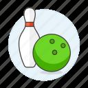 2, ball, bowling, kegling, pin, skittle, sports, ten, yellow icon