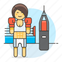 arts, bag, boxer, boxing, female, fighter, gloves, martial, practice, punching, sports icon