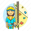 1, artificial, boulder, bouldering, climbing, female, harness, rock, rope, sports, wall icon