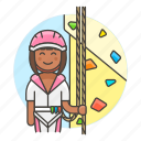 2, artificial, boulder, bouldering, climbing, female, harness, rock, rope, sports, wall icon