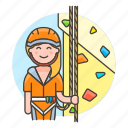 3, artificial, boulder, bouldering, climbing, female, harness, rock, rope, sports, wall icon