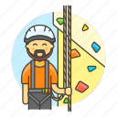 artificial, boulder, bouldering, climbing, harness, male, rock, rope, sports, wall icon