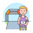 1, competition, male, marathon, number, race, road, running, sports, start icon